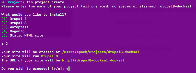 Docksal create project