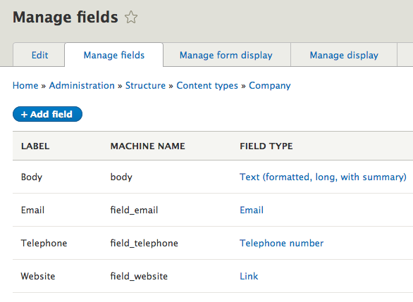 Company content type fields