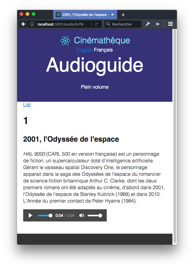 React Audioguide detail