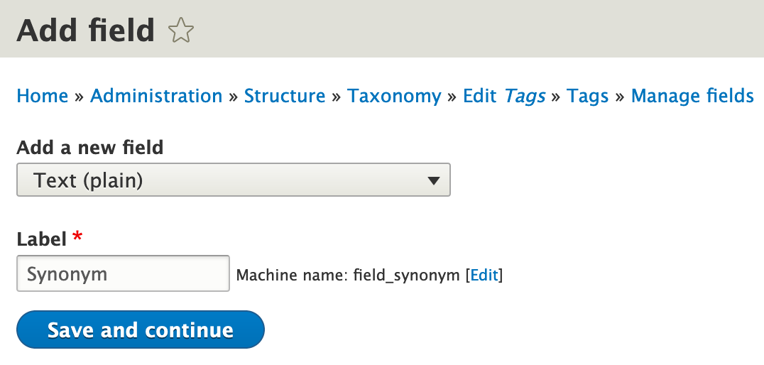 Tags synonym text field